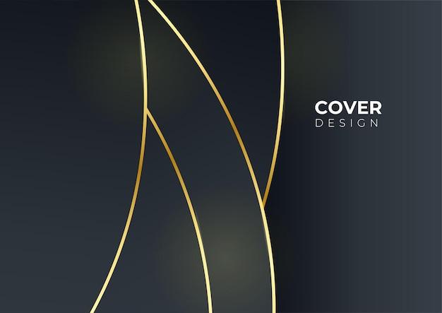 Luksusowy biznes okładka tło, abstrakcyjna dekoracja, złoty wzór, gradienty półtonów, 3d ilustracji wektorowych. szablon okładki z czarnego złota, geometryczne kształty, nowoczesny minimalistyczny baner