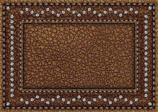 Luksusowy brązowy skórzany uchwyt na karty ze srebrnymi diamentami i przeszyciami.