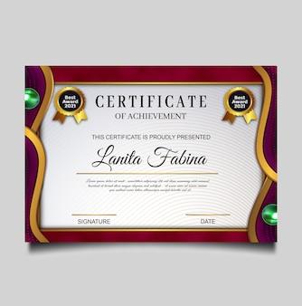 Luksusowy certyfikat osiągnięcia szablonu