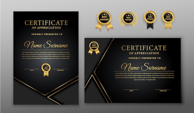 Luksusowy certyfikat ze złotą i czarną odznaką i szablonem granicy