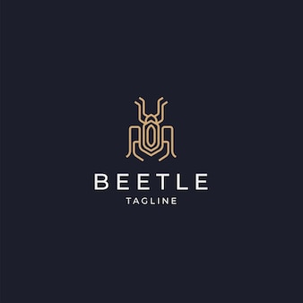 Luksusowy chrząszcz elegancki złoty kolor logo ikona szablon projektu płaskie vecto