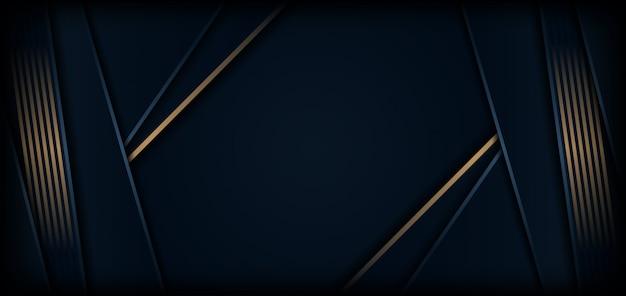 Luksusowy ciemnoniebieskie tło ze złotą linią