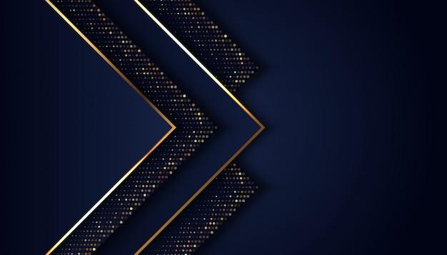 Luksusowy ciemnoniebieskie tło ze złotymi błyszczącymi kropkami