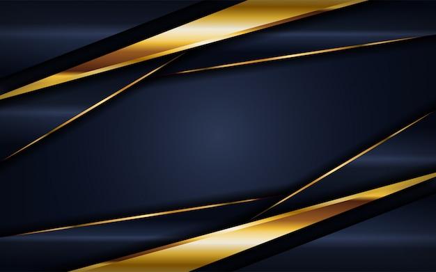 Luksusowy ciemny granatowy tło ze złotymi liniami