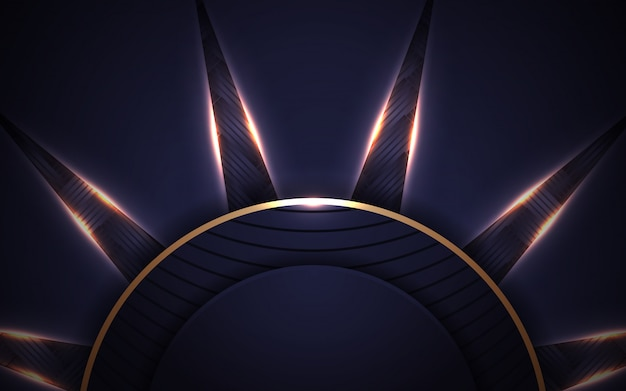 Luksusowy ciemny niebieski rama streszczenie tło ze złotym światłem