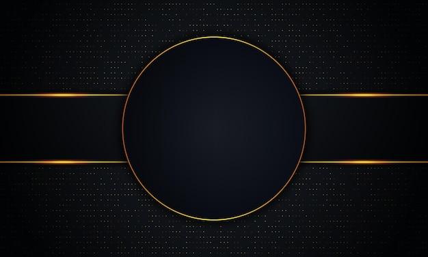 Luksusowy ciemny okrąg i paski ze złotymi liniami i kropkowanym tłem. ilustracja wektorowa.