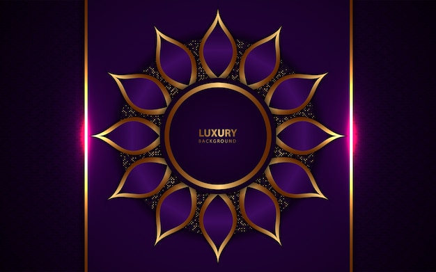 Luksusowy ciemny purpurowy tło z złotą dekoracją