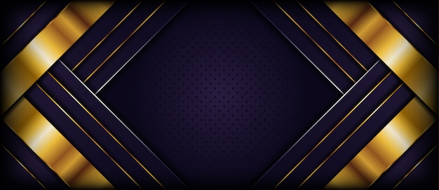 Luksusowy ciemny purpurowy tło z złotymi abstrakcjonistycznymi kształtami