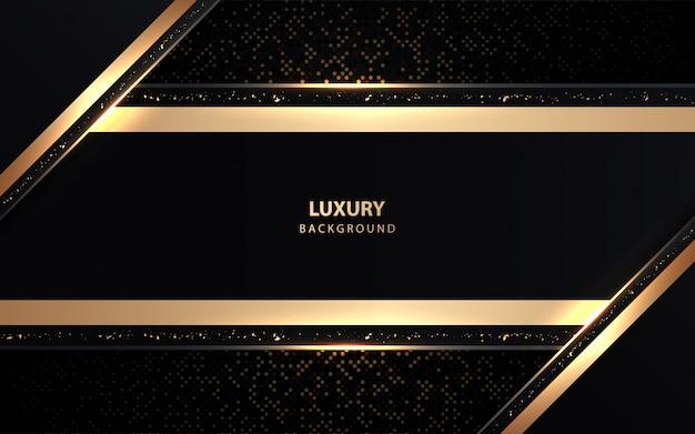Luksusowy czarne tło z złotymi błyskotkami dekoracji