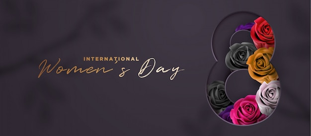 Luksusowy czarno-złoty dzień kobiet banner 3d