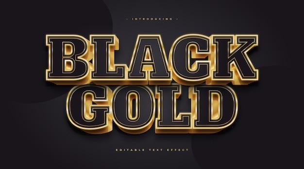 Luksusowy czarno-złoty styl tekstu z efektem 3d i świecącym. edytowalny efekt stylu tekstu