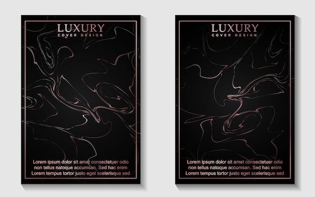 Luksusowy czarny i marmurowy wzór okładki w kolorze różowego złota
