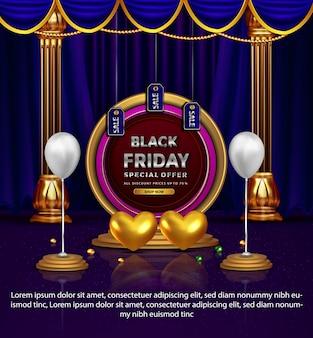 Luksusowy czarny piątek promocyjny niebieski oferta specjalna walentynki
