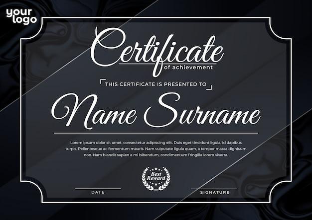 Luksusowy czarny szablon certyfikatu