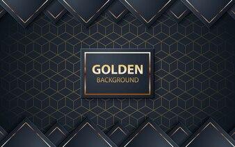 Luksusowy czarny tło z złotą listą na czarnym kwadracie