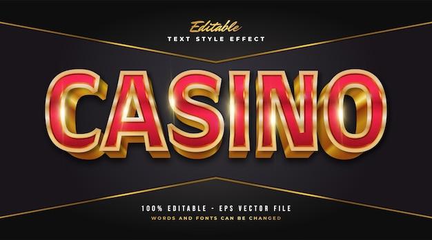 Luksusowy czerwony i złoty tekst kasyna z wytłoczonym efektem. edytowalny efekt stylu tekstu