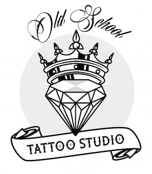 Luksusowy diament z grafiką tatuażu korony