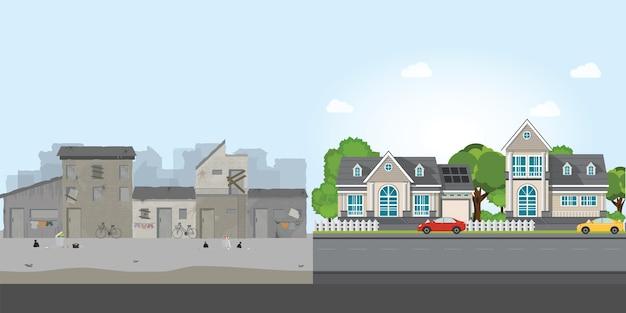 Luksusowy dom i slumsy, przepaść między ubóstwem a bogactwem.