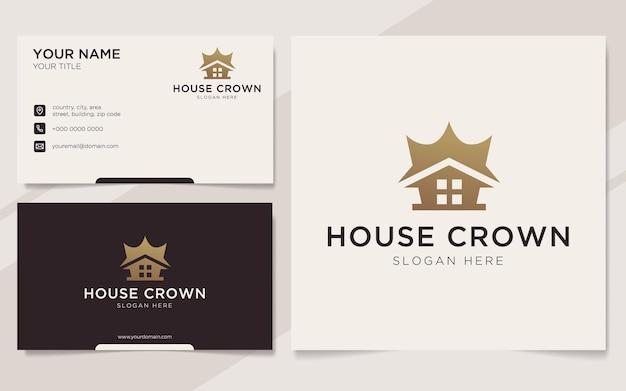 Luksusowy dom korony logo i szablon wizytówki