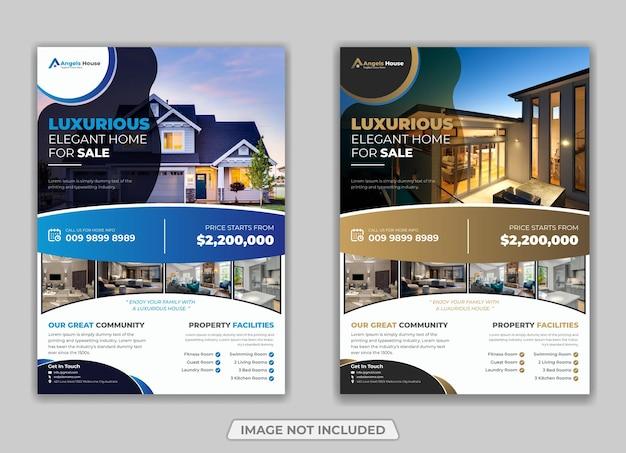 Luksusowy dom na sprzedaż szablon ulotki nieruchomości wektor premium
