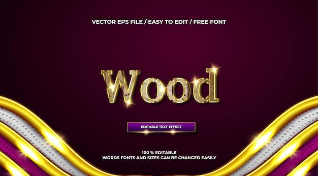 Luksusowy drewniany złoty efekt tekstowy 3d