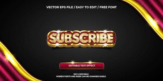 Luksusowy edytowalny efekt tekstowy subskrybuj złoty styl tekstu 3d
