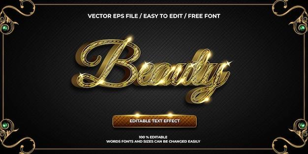 Luksusowy edytowalny efekt tekstowy uroda złoty styl tekstu 3d