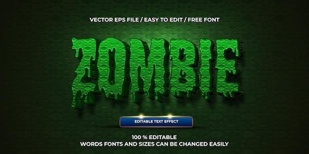 Luksusowy edytowalny efekt tekstowy w stylu tekstu 3d zombie
