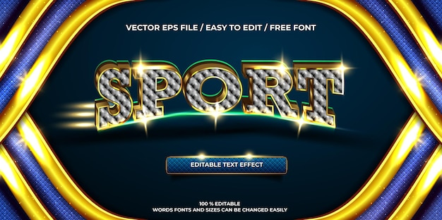 Luksusowy edytowalny efekt tekstu sportowego złota 3d styl tekstu