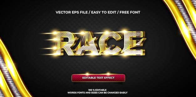 Luksusowy, edytowalny styl tekstu 3d wyścigu ze złotym stylem