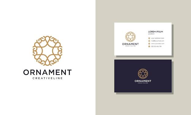 Luksusowy elegancki zarys ornament ozdoba logo z wizytówką