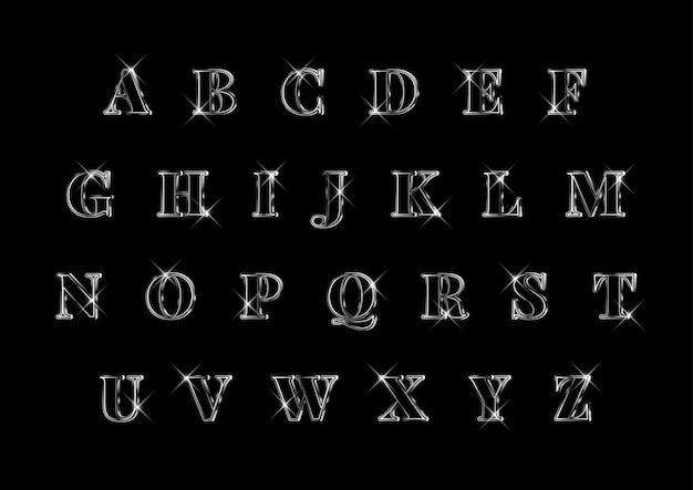 Luksusowy elegancki zestaw srebrnych alfabetów 3d