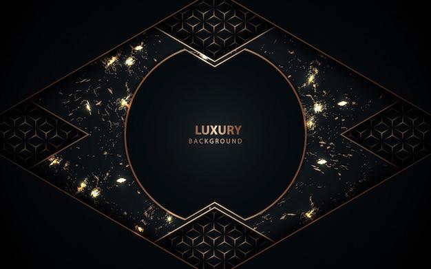 Luksusowy granatowy tło ramki ze złotą dekoracją