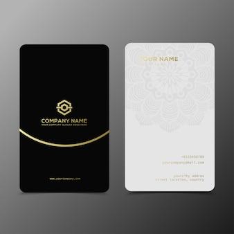 Luksusowy i elegancki czarny złoty wizytówki szablon
