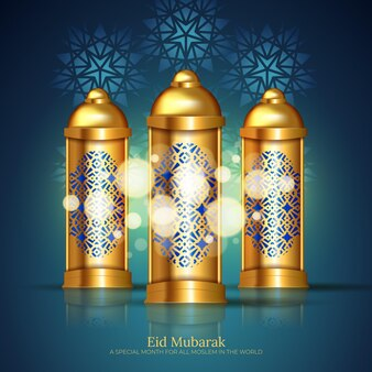 Luksusowy i elegancki design powitania eid mubarak