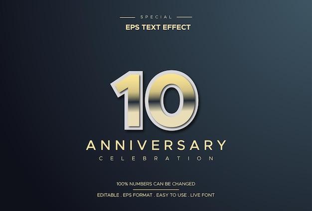 Luksusowy i elegancki efekt tekstowy na dziesięć lat z żółtymi cyframi nałożonymi na biało
