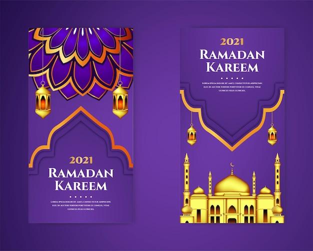 Luksusowy i elegancki zestaw szablonów banerów ramadan kareem tradycyjne latarnie i meczet