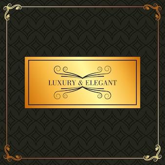 Luksusowy i elegancki złoty afisz rozkwita dekorację ramy