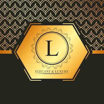 Luksusowy i elegancki złoty sztandar geometryczny