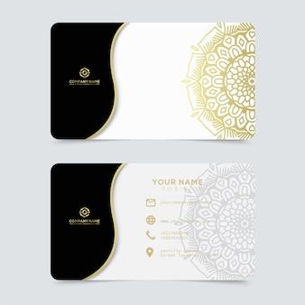 Luksusowy i elegancki złoty wizytówki szablon