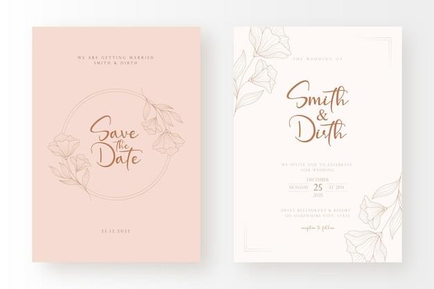 Luksusowy i minimalny szablon karty zaproszenie na ślub z ilustracją wieniec kwiatowy w stylu linii sztuki