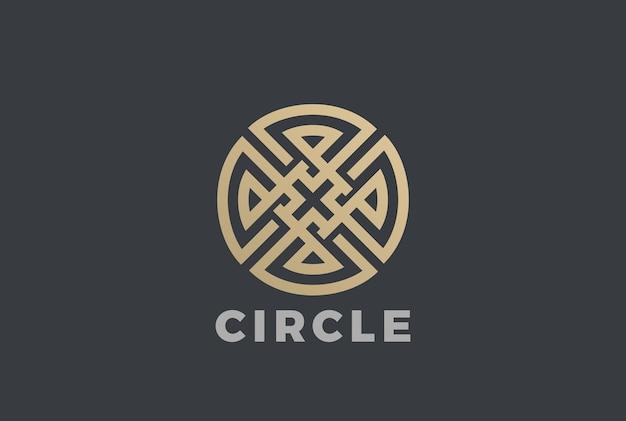 Luksusowy koło maze krzyż logo ikona. styl liniowy