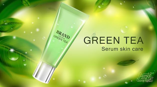 Luksusowy kosmetyk kremowy krem do pielęgnacji skóry. plakat produktu kosmetycznego.