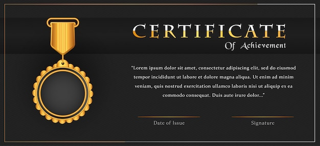 Luksusowy krajobraz certyfikat osiągnięcia szablonu projektu ze złotym medalem