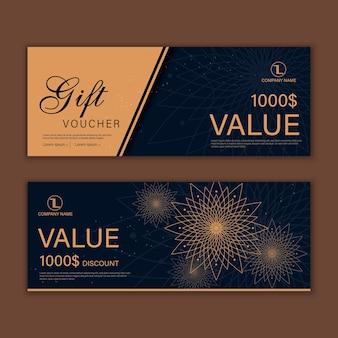 Luksusowy kupon upominkowy na wydarzenie w kolorze złotym, kręconym