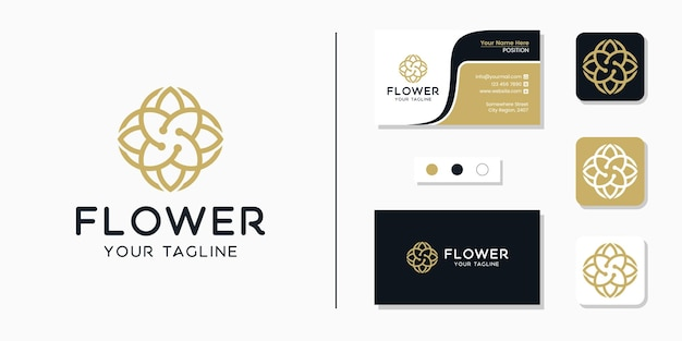 Luksusowy kwiat logo i inspiracja szablonem wizytówki