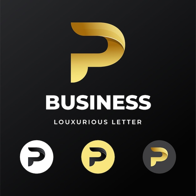 Luksusowy luksusowy list początkowy szablon logo p.