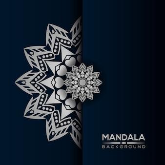Luksusowy mandali tło w srebrnym stylu