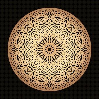 Luksusowy mandali tło z retro złotym arabeskowego wzoru arabskim islamskim wschodu stylem