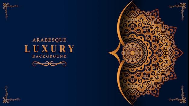 Luksusowy mandali tło z złotą arabeską